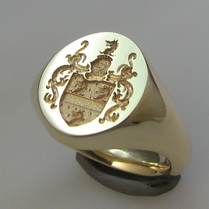 Coat of arms with wolf crest signet ring