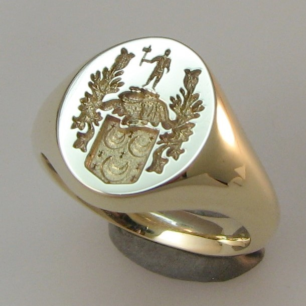 coat of arms 3 crescents seal engraved signet ring