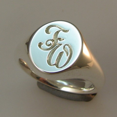 Initials engraved silver signet rings