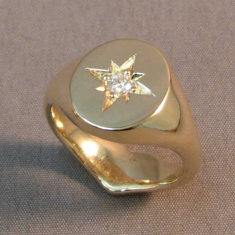 Moissanite star set secret signet ring